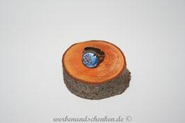 Ring in Altmessingoptik- Vögel- blau