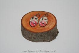 Ohrring galvanisiert - Blüte- rot