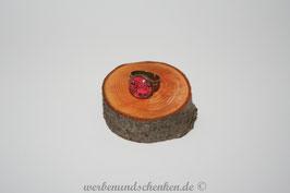 Ring in Altmessingoptik- Blumenmuster- rot