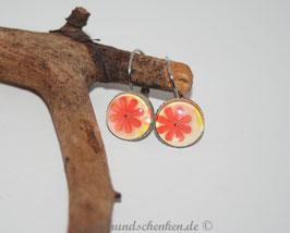 Ohrring rund, Blüte- orange/rot