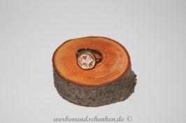 Ring in Altmessingoptik- Katze- weiß