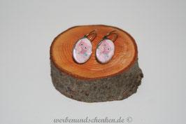 Ohrring galvanisiert - Eule- rosa