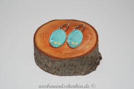 Ohrring galvanisiert - Blume auf hellblau