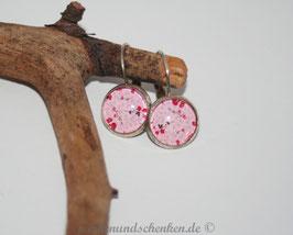 Ohrring rund, Rosen auf rosa