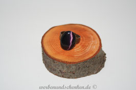 Ring in Altmessingoptik- oval- lila/schwarz