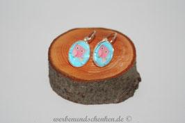 Ohrring galvanisiert - Eule- hellblau
