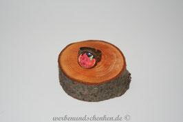 Ring in Altmessingoptik- Blüten- rot