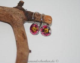 Ohrring rund, Blume- Stoff