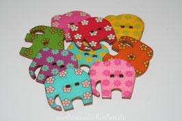 Holzknopf Elefant mit runden Blüten