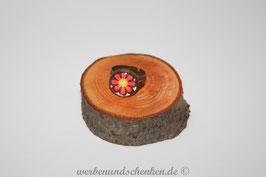 Ring in Altmessingoptik-Blume- rot