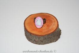 Ring in Altmessingoptik- oval Eule-pink