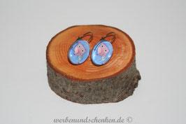 Ohrring galvanisiert - Eule- blau