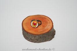 Ring in Altmessingoptik- bunter Stoff