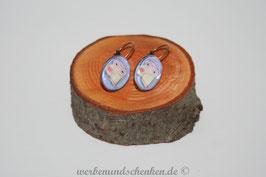 Ohrring galvanisiert - Eule- blau/violett