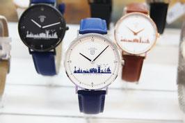 Kühlungsborn-Uhr silberfarben mit Lederarmband blau