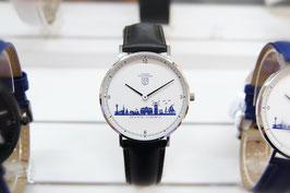 Kühlungsborn-Uhr silberfarben mit Lederarmband schwarz