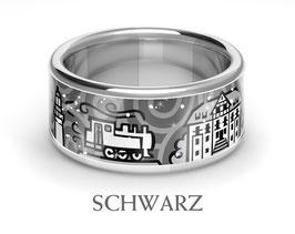 KühlungsbornRing, schwarz, 925 Silber