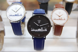 Kühlungsborn-Uhr schwarz veredelt mit Lederarmband blau