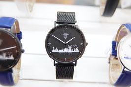 Kühlungsborn-Uhr schwarz veredelt mit Milanaiseband