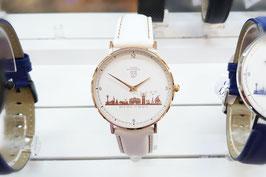 Kühlungsborn-Uhr rose veredelt mit Lederarmband weiß mit Naht