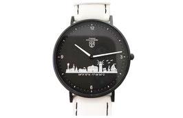 Kühlungsborn-Uhr schwarz veredelt mit Lederarmband weiß mit schwarzer Naht