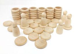 Niños, anillas y monedas madera NATURAL