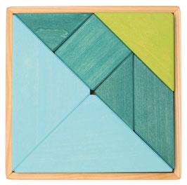 Tangram pequeño azul y verde con librillo