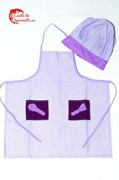 Delantal y gorro lila con dos bolsillos