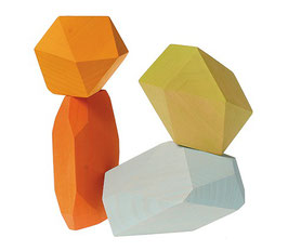 4 gemas de madera pastel