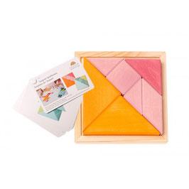 Tangram rosa y naranja pequeño con libro