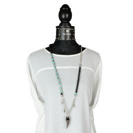 k-0027 Halskett Onyx- und Amazonitperlen, DQ-Erbsketten, DQ-Engelsflügel