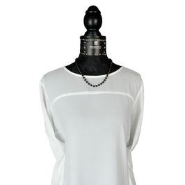 k-0029 Halskette Onyx, Hämatitperlen facettiert in rosé, Verschluss Silber 925 rosévergoldet