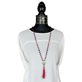 k-0028 Achat-Halskette beerenfarben, rot, blau, Zwischenperlen DQ-Metall Designerqualität, lange rote Quaste