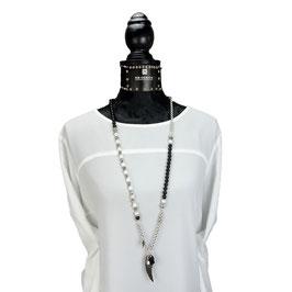 k-0034 Halskette Onyx- und Muschekernperlen, DQ-Erbsketten, DQ-Engelsflügel, Quasten in DQ