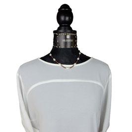 k-0037 Miyuki Rocailles dunkles Mauve (braun) mit Süßwasserzuchtperlen, Silber 925