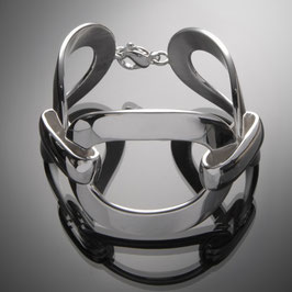 """Armband """"Santa Fe"""" aus recyceltem 925 Silber, aus drei großen Ovalen mit Karabiner"""