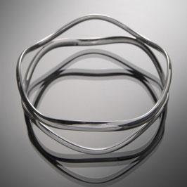 """Armreif """"zwei Wellen des Pazifiks"""" aus recyceltem 925 Silber"""