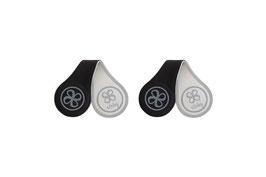 2 magnetische & reflektierende Leder-Clip schwarz & grau