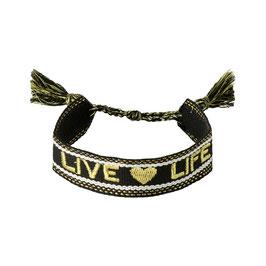 Armband braided Live Life Zwart/Roze