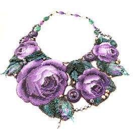 Kollier Perlen lila/violett/grün