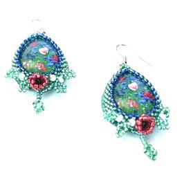 Ohrringe Mohnblumen Perlenarbeit