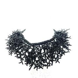 Kollier Perlen schwarz