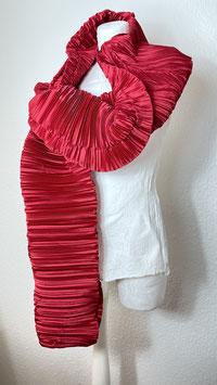 Schal Plissee Seide rot