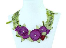 Blumenkollier Pinkbeere/ grün