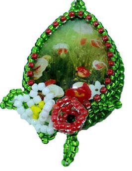 Ohrringe Mohnblumenwiese Perlenarbeit