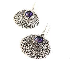 Ohrringe altsilber Perlen mit lila Stein