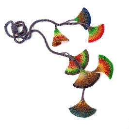 Kollier Perlen Longkette verstellbar regenbogenfarben
