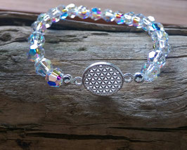 Original Swarovski Glas Perlenarmband mit Lebensblume 925er Silber