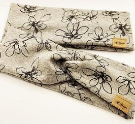 """Stirnband oder Knotenstirnband """"grau mit Blumen"""" Innenseite Fleece"""