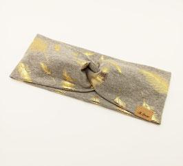 Knotenstirnband Gold Feder